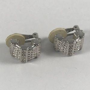 Vintage Swarovski Earrings, Silver Tone Earrings.
